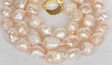 "Hot sale Free Shipping>>>>>natural bleb Baroque 17"" 10mm pink Reborn keshi pearls necklace"