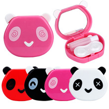 2017 Hot Sale Women Fashion Cute Cartoon Panda Candy Color Contact Lens Box Case For Eyes Care Kit with makeup mirror D38JL21