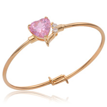 Cute Yellow Gold Color Love Peach Heart Pink CZ Bangles Bracelets For Baby Toddler Kids Girls Jewelry adjustable pulseiras