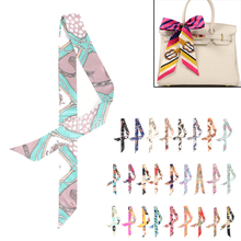 2017 New Fashion 26 Styles Women Print Silk Ribbon Twilly Bag Scarf For Ladies top sale