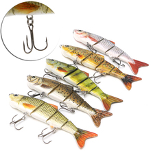 Fishing spinners Lures 4-Segement Pike Lure With Mouth Swimbait Fishing Lure Bait Tackle 12cm 17g(China)