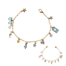 One Piece Blue Pink Enamel Butterfly Star Poker Card Color Rabbit Alice In Wonderland Gold Charms Bracelet For Women Girls Lady