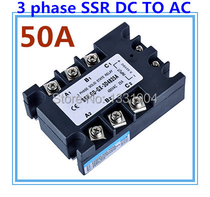 DC to AC SSR-3P-50 DA 50A SSR relay input DC 3-32V output AC480V Three phase solid state relay<br>