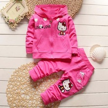 roupas de bebe Springs Casual Baby Girls Baby Sets Cotton Hello Kitty Hooded Zipper Coats+Pants kids Clothing Sets Suits