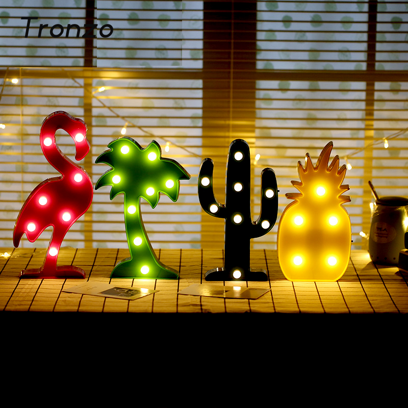 Tronzo Flamingo Led Light Christmas Wedding Decoration For Home Marquee Unicorn Head Pineaapple Lantern Party 3D Night Lamp(China)