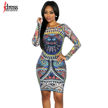IDress 2016 Abstract African Print Dress Sexy Bodycon Dress Women Party Clubwear Dress Cheap Clothes China Summer Dress Casual(China)