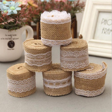 Hot 1Pc 5cm Width 200cm Length Natural Jute Ribbon Lace Trims Tape Wedding Party Cake Decoration Streamer Parties Supplies(China)