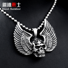 stainless steel new arrvial angle wing punk skull men pendant stainless steel high quality fashion jewelry
