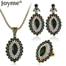 Vintage Wedding Turkish Jewelry Ring Sets For Women Gold-Color Earrings Set Green African Crystal Necklace Engagement