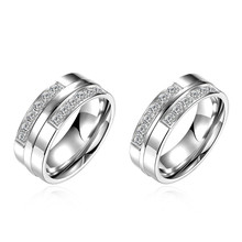 Classic design titanium steel couple rings with CZ Diamonds jewelry Fashion Engagement gifts high quality hot(China)