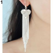 1 Pair Sliver Gold Women's Love Heart Party Long Tassels Rhinestone Hook Dangle Linear Earrings(China)