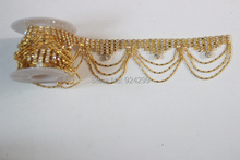 Free Shipping 5 yards Crystal Rhinestone Trim, Rhinestone Applique, Bridal Applique,Wedding Applique,Rhinestone Chain LSRT11216