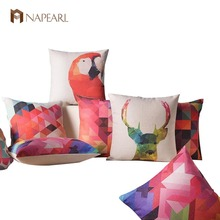 Geometry colorful printedpillow linen cushion abstract brief north european style cushion sofa throw pillow(China)