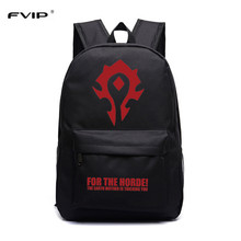 "FVIP Free Shipping Cool Game WOW Backpack ""for The Horde"" Printing School Bag for Teenagers Game Travel Bag(China)"
