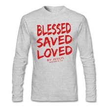 Big Size Christian Jesus BLESSED SAVED LOVED John 3 16 Bible Lines Men's Under Shirt Long Sleeve Cotton Custom Easter Tshirt