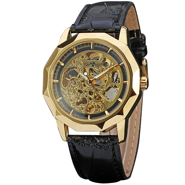 2017 Mens Military Sports Men Skeleton Mechanical Wrist Watches Louvre Series Design Imported Automatic Movement Leather Strap<br>