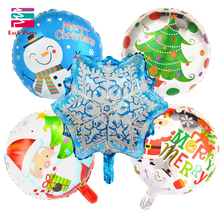 5pcs cartoon snowflake Christmas foil balloons merry Christmas helium balloon Christmas decoration balls inflatable classic toys(China)
