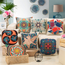 45x45cm square home decoration pillowcase knitted plants flowers and birds printed sofa bed head cushion cushion cover classical(China)