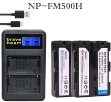 2x digital Camera Battery NP-FM500H NP FM500H npfm500h batteria + Charger for Sony A200 A700 A900 A300 A550 A700K DSLR SLT-A57