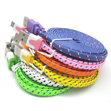 1M High Quality Braided Flat 30 pin USB Data Sync Charging Charger Cable Cord For iPhone 4 4S 3G