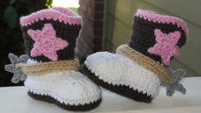 Handmade crochet baby girl western cowboy cowgirl boots Newborn baby booties shoes star size 0 to 12 months