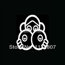50 pcs/lot Girl Hiding Behind Huge Boobs Sticker Cute Fun Vinyl For Car Window Truck SUV Bumper Door Decal Drawing Boobies Sexy(China)