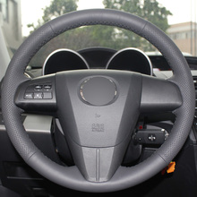 Black Leather Hand-stitched Car Steering Wheel Cover for 2011-2013 Mazda 3 Mazda CX7