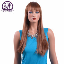 MSIWIGS 26 Inches Long Blonde Straight Wigs with Bangs American European Brown Synthetic Wigs for Women High Temperature Fiber