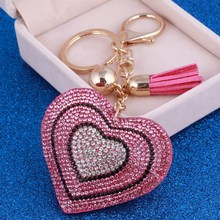 Golden Rhinestone Key Chain Ring Love Keyring Keychain Women Bag Car Charm Pendant Heart Keychains Leather Key Holder Jewelry(China)