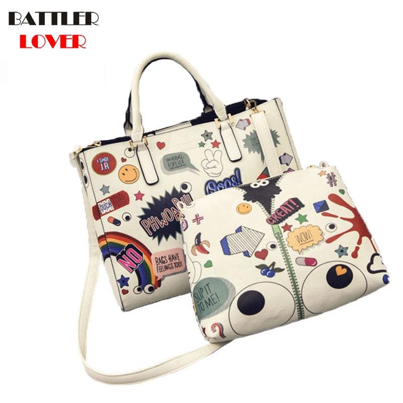 Handbag Women Bag Designer Brand Graffiti Printed Large Tote Shoulder Composite Bag 2PCS Cartoon Big Eye Crossbody Messenger Bag