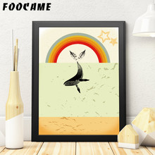 FOOCAME Marine Animal Whale Rainbow Posters and Prints Art Canvas Painting Modern Home Decor Wall Pictures For Living Room