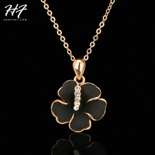 Top Quality N280 Black Rose Flower Rose Gold Color Fashion Pendant Jewelry Made with Austria Crystal Elements Wholesale(China)