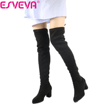 ESVEVA 2017 Over The Knee Boots Flock Winter Round Toe Women Boots Ladies Lace Up Stretch Fabric Fashion Boots Big Size 34-43(China)