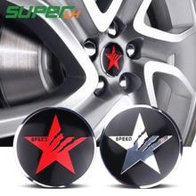 4PCS Pentagram SPEED Champions Car Steering tire Wheel Center car sticker Hub Cap Emblem Badge Jaguar Hubcap Audi BMW Nissan