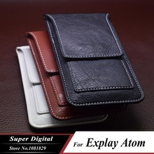 Case For Explay Atom luxury pouch PU leather phone flip multifunction cover phone holster cell phone waist bag(China)