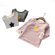 BibiCola Baby Girls Tops Pullover Clothes Children Warm Casual Striped Outerwear Kids Outfits autumn winter Velvet Sport Coat(China)
