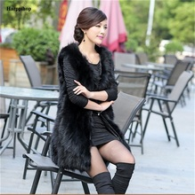 2017 New Genuine Raccoon Fur Vest Women long natural fur vest Winter thick Long Fox Fur vest customized big size Free Shipping
