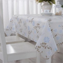 PVC Plastic Table Cloth White Peony Oilproof Waterproof Rectangle Dining Table Cover Nappe Coffee Tablecloth Home Decor non-wash