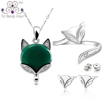 Casual Matching 925 Pure Silver Natural Stone Green Onyx Fox Animal Pendant Necklaces Earrings Ring Woman Fashion Jewelry Sets