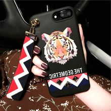 Fashion 3D Animal Stud Rivet Wrist Strap Case for iPhone 7 Case Tiger Rabbit Wolf Soft Silicone Cover for iPhone7 6 6S PLus Capa