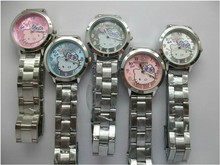 Cute Woman's Girl Hello kitty KT cat style Dial steel metal strap Quartz Wrist Watch