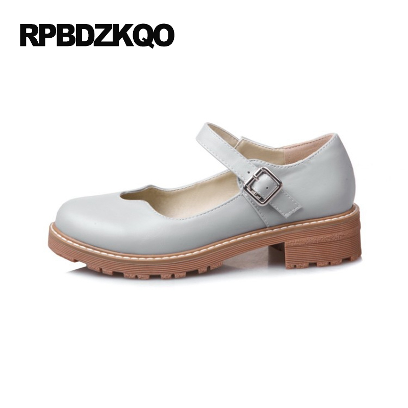Women Flats Size 43 10 Ladies Custom Grey Round Toe Japanese School Mary Jane Large 2017 Beautiful Shoes Platform Low Heel<br>