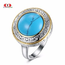 Allencoco Men Rings Classic Turquoise Texture Circle Carve Feast Finger Rings Jewelry for Women and Men Full Sizes