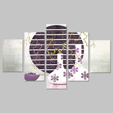 5pcs Still life Japanese style vase picture decoration Canvas Painting flower purple pattern wall Art living room print unframed(China)