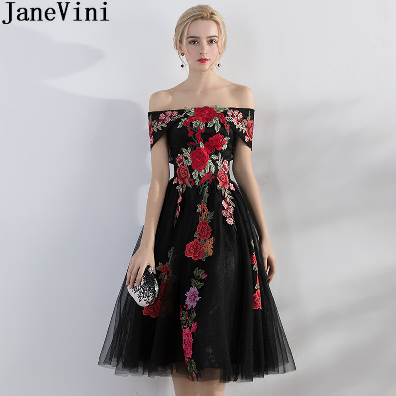 JaneVini Vintage Tea Length Arabic Dresses Evening Gowns Off Shoulder Embroidery Lace Godmother Mother Of The Bride Dresses 2019