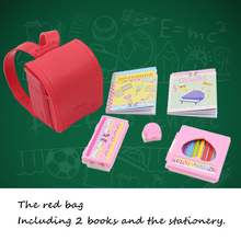 free shipping for blyth doll icy licca body school bag campus red satchel books stationery gift toy 3cm*4cm(China)
