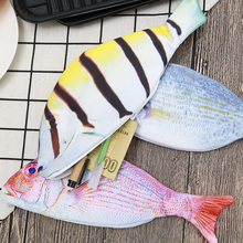 1 Piece Creative Fish Shape Pencil Case Kawaii Korea Style Canvas Pencils Bag School Supplies Stationery Cute Pen Box