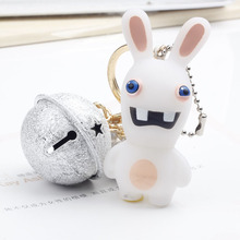 New Arrival Ghost Bunny Key Chain With Tinkle Bell For Bag Charms Ornament Pendants Halloween Party Product Nice Gift
