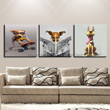 Oil Painting Hand Painted Animals Abstract Dog Pictures On Canvas Pony For Living Room Decor Paintings Hand Picture Horse(China)