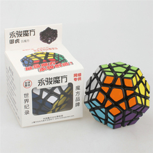 Brain New YJ Megaminx Puzzle Cube Action Figures Magic Speed Cube Megaminx Fidget Cube Black Color Educational toys